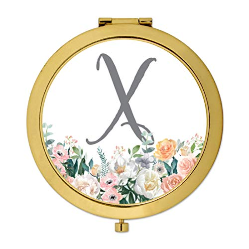 Andaz Press Gold Compact Mirror Bridesmaid's Wedding Gift, Peach Flower Florals on White, Monogram Letter X, 1-Pack, Bachelorette Bridal Shower Wedding Party Gifts
