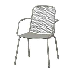 Mwh 360057 - Silla scuro silla apilable, acero, metal desplegado, gris