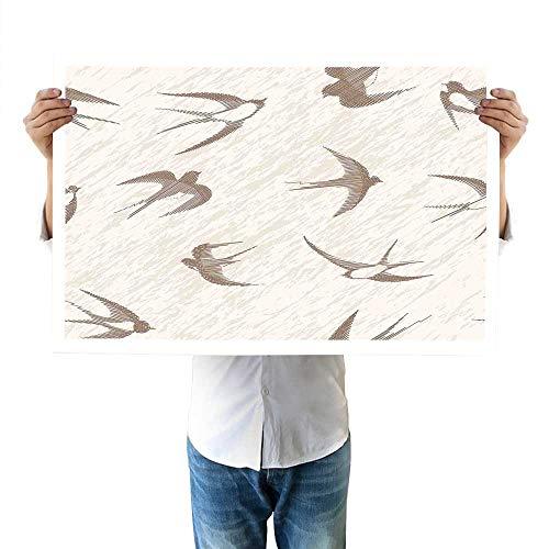 "Birds top Flying Bird Swallow Vintage Design Illustration Springtime Wildlife Classic Art fine 32""x48""inch Beige Brown"