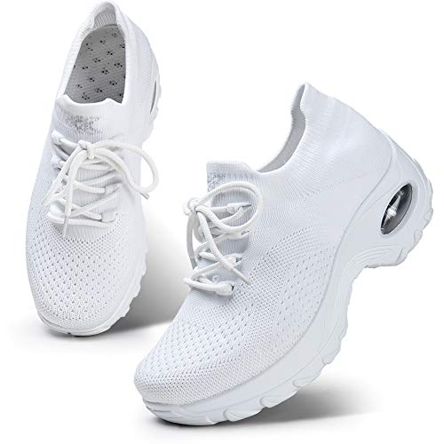 HKR Womens Nursing Shoes Lightweight Mesh Knit Platform Walking Fitness Shoes White 6(1862baise36)