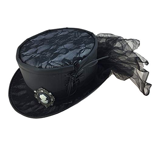 Storm Buy ] Steampunk Top Hat Mad Scientist Time Traveler Feather Halloween Costume Cosplay Party (Black Leather) ()