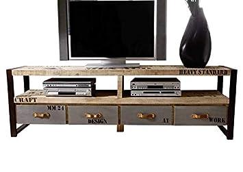 nouveau concept 907a3 eb961 Massivmoebel24.de Bois Massif Meuble Imprimé Style Industriel Bois de  Mangue Meuble TV Entièrement Massif Fer Usine #130