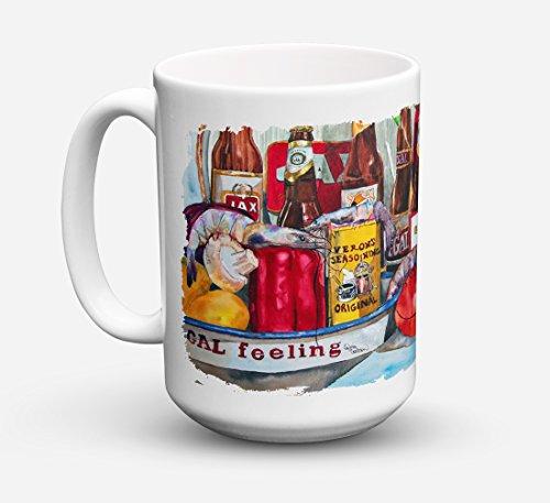 Caroline's Treasures 1010CM15 Veron's And New Orleans Beers Microwavable Ceramic Coffee Mug, 15 oz, Multicolor