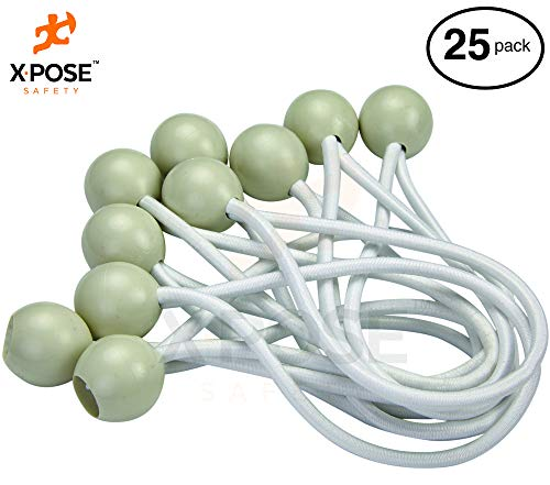 Xpose Safety Bungee Ball Cords - 6 25 Pack - Heavy Duty White Stretch Rope with Ball Ties for Canopies, Tarps, Walls, Cable Organization