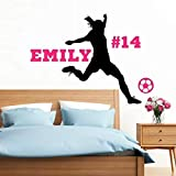 Personalized Girls Soccer Wall Decal, Girls Futbol Gifts, Over 30 Colors and Several Sizes To Choose From