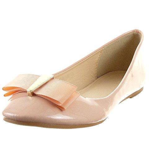 Fibbia Nodo da a Moda Alla Ballerina Sopily Scarpe Rosa Caviglia 1 Donna Tacco cm Blocco 8gqwW05