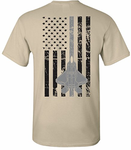 - United States Air Force U.S.A.F. Thin Silver Line T-Shirt Tee (Medium, ACU Tan)