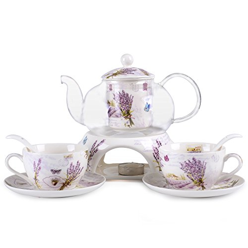 (Kendal 24 oz tea maker teapot with a Porcelain warmer and 2 set of Porcelain Cup and Saucer and Spoon SI-XYC (3-XYC) )