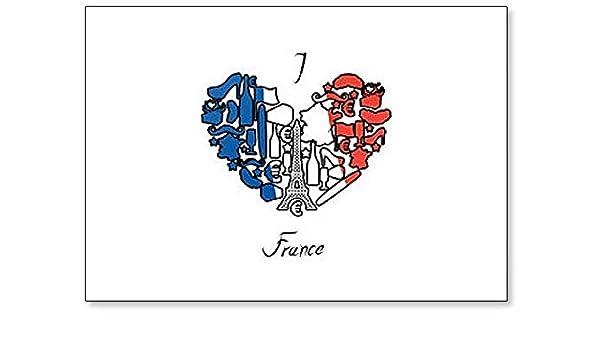 I Love France. Imán para nevera con diseño de símbolos e iconos ...