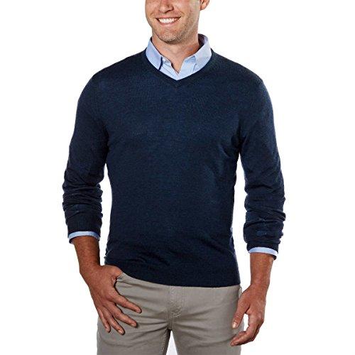 Calvin Klein Men's Merino Solid V-Neck Sweater (Zimone Blue, Medium)
