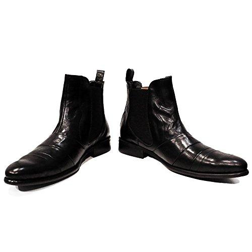 Weiches Handgemachtes Rindsleder - Peppeshoes Stiefeletten Italienisch Chelsea Modello Herren Schlüpfen Bando Stiefel Leder Schwarz
