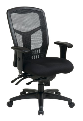 Office Star High Back ProGrid Back FreeFlex Seat with Adjustable Arms and Multi-Function and Seat Slider, Black Managers ()