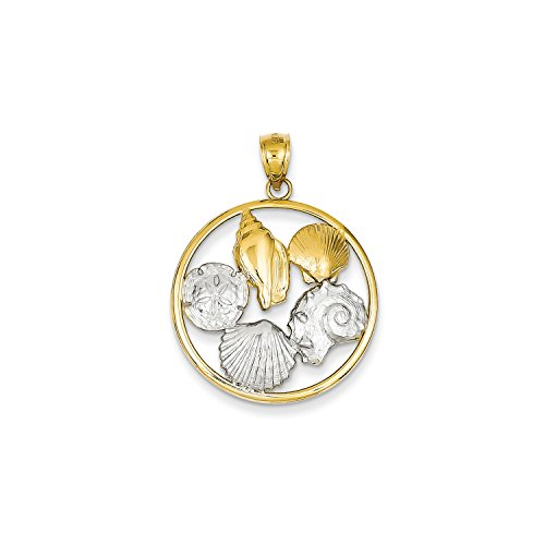 Gold Shell Cluster - Roy Rose Jewelry 14K Two-tone Gold Shell Cluster in Circle Pendant