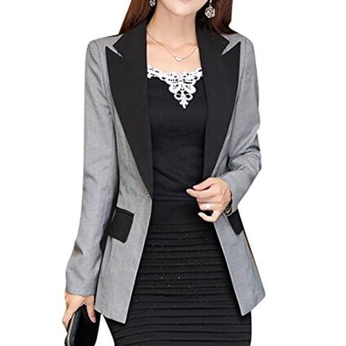 Wholesale Fensajomon Womens Classic Color Block One Button Slimming Blazer Suit Coat Outerwear supplier