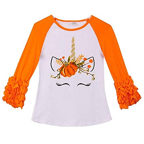 VIKITA 2017 Kid Girl Cotton Halloween Pumkin Unicorn Orange Long Sleeve T Shirt Clothes GZSH001 2T