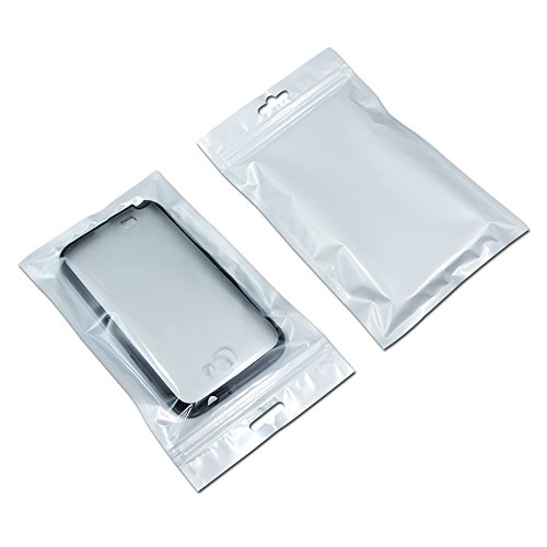 (Front Clear White Zipper Resealable 2.7mil Plastic Bags with Hanging Hole Phone Case Zip Lock Package Self Seal Pouches Electronic Product Shell Packaging (100, 13x21cm (5.1x8.3 inch)))