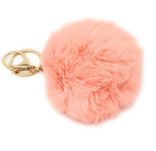 - Diverse Central Products 9.5cm Rabbit Fur Ball Pom Pom Keychain for Bag Charms with Key Ring (Orange)