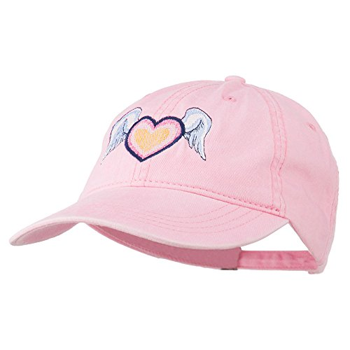 E4hats Heart Angel Wings Embroidered Washed Cap - Pink OSFM Pink Angel Hat