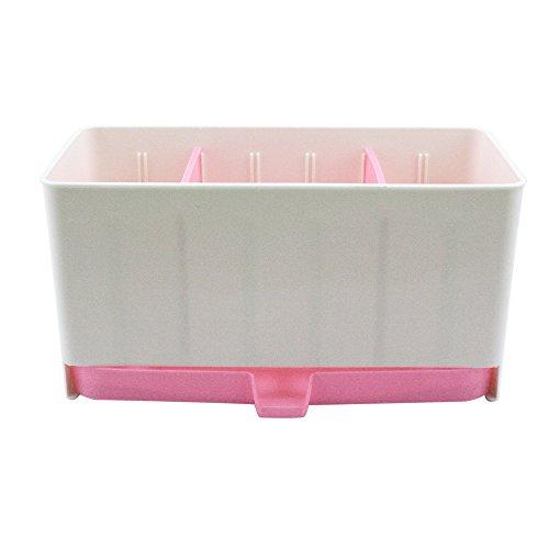 Multifunctional Plastic Caddy Drain Rack Storage Box Shelf Drying Holder Flatware Silverware Utensils Cutlery Tray Home Kitchen Bathroom Table Organizer Free Combination (Pink)