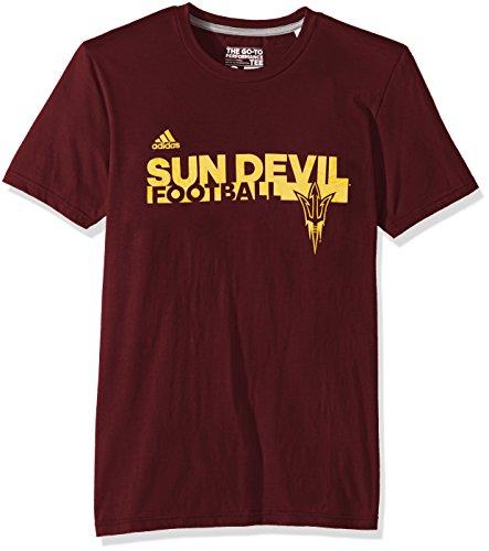 adidas NCAA Arizona State Sun Devils Adult Men Sideline Grind Football Go-to Performance S/Tee, Large, Maroon