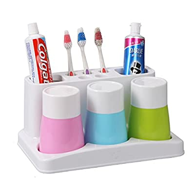 Tooth Brushes Organizer, Bathroom Toothbrush Toothpaste Stand Holder Plastic Storage Rack Box Set