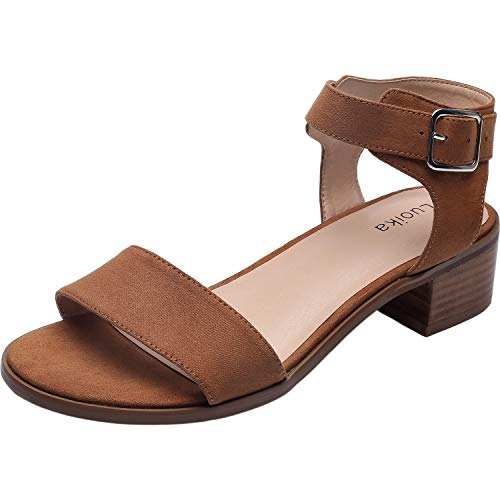 (Women's Wide Width Heeled Sandals - Classic Low Block Heel Open Toe Ankle Strap Summer Shoes.(180309,Brown,11) )