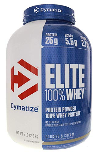 Dymatize Elite Gourmet 100% Whey Sustained Release Protein, Cookies & Cream, 5 lbs For Sale