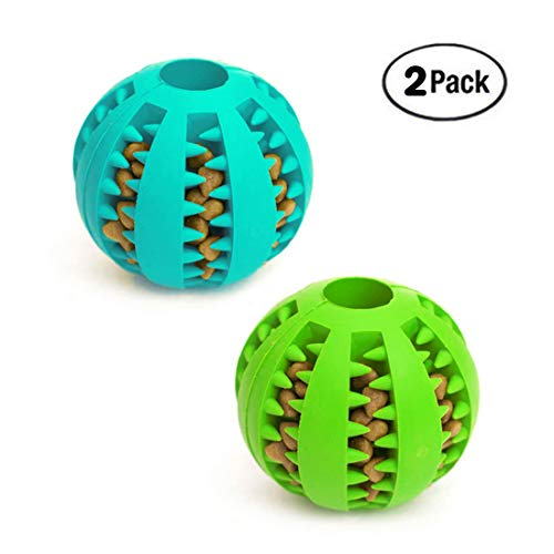 Idepet Dog Toy Ball, Nontoxic Bite Resistant Toy Ball for Pet Dogs Puppy Cat, Dog Pet Food Treat Feeder Chew Tooth Cleaning Ball Exercise Game IQ Training Ball,2 Pack- Blue & Green