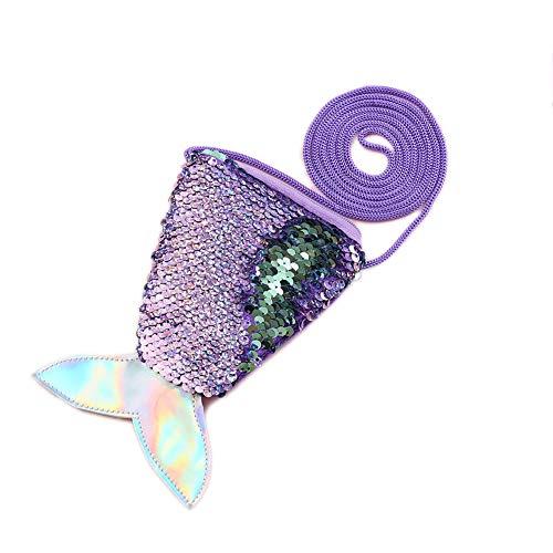 Starte Small Mini Coin Purse Messenger Bag Crossbody Satchel for Kids Girls,Mermaid Sequin Bling Bag for Girls Backpack,Purple