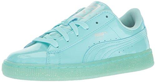 PUMA Basket Patent Iced Glitter Jr Running Shoe Aruba Blue, 6 M US Big Kid