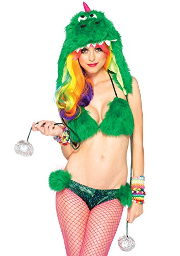 Leg Avenue Women's 3 Piece Party Dino Furry Dinosaur Costume, Green, Medium
