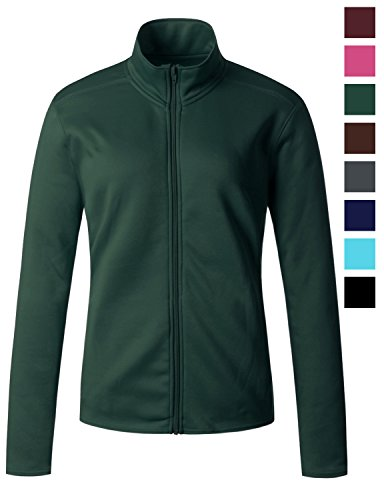 Regna X Womens Warm Cotton Thick Comfy Full Zip up Fleece Jacket Green L (Fleece Warm Up Jacket Coat)