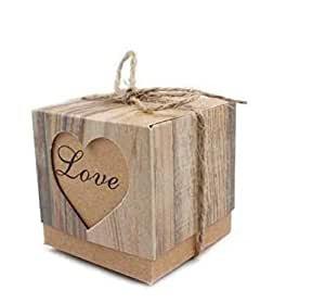 100 pieces DIY Gift Box with Burlap Twine for Jewellery Wedding Chocolate Sweet Candy Party Gifts