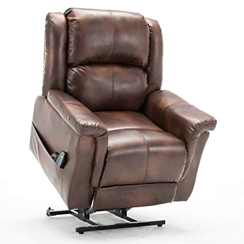 ComHoma Power Lift Recliner Massage Chair Heated Easy Care for Elderly Electric Lounge Living Room Sofa Luxurious Bonded Leather Brown