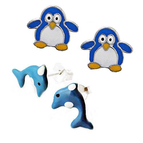 SL Silver Juego de kinderohr anillos Pingüino y delfín 925plata en caja de regalo