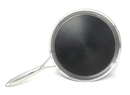 HexClad 12 Inch Hybrid Stainless Steel Griddle Non Stick Fry Pan with Stay-Cool Handle – PFOA Free, Dishwasher and Oven…