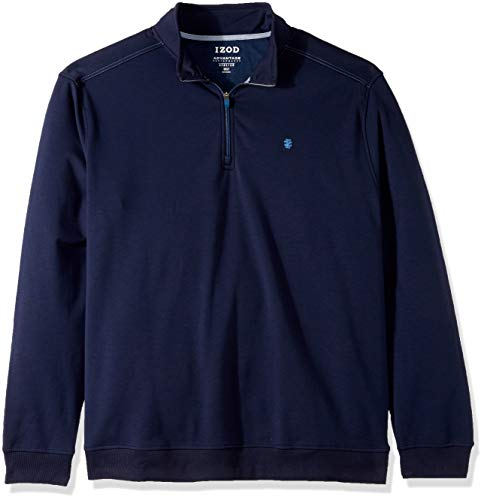 IZOD Men's Big and Tall Advantage Performance Fleece Long Sleeve 1/4 Zip Soft Pullover, New Peacoat, 2X-Large