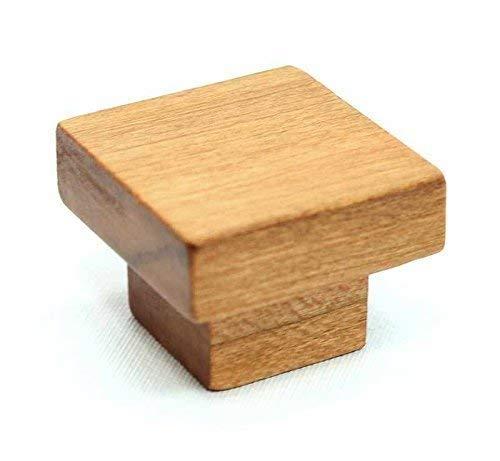 Cherry Wood Cabinet Knob, Square