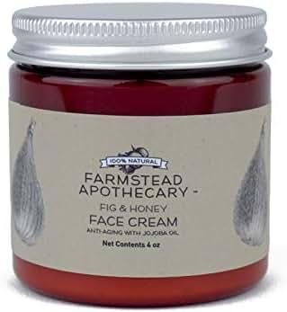 Farmstead Apothecary 100% Natural Anti-Aging Face Cream with Jojoba Oil, Fig & Honey 4 oz