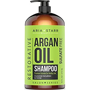 Aria Starr Argan Oil Shampoo With Keratin, Coconut, Jojoba – Natural Moisturizing Sulfate Free Shampoo For Color Treated, Curly Hair, For Men & Women, 16 FL OZ