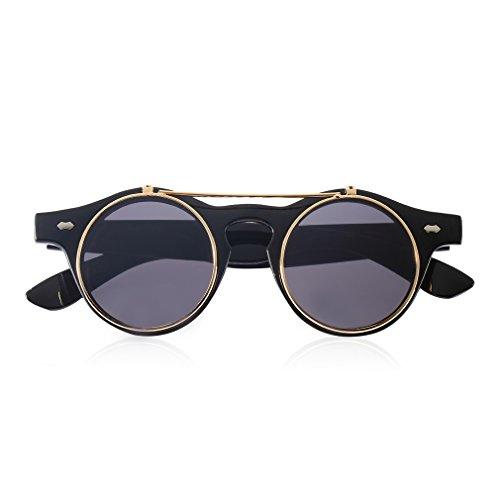 de Black Gafas Para Redondas Flip Lente Smooth Mujeres Sunglasses Gafas Fansport Sol Steampunk Redondo Up HOPItxcwq