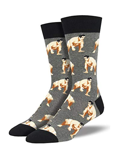Socksmith Mens Push Comes to Shove Sumo Wrestling Crew Socks (Gray Heather) -