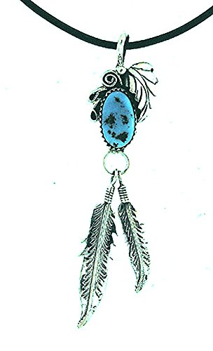 By Navajo Artist Ida McCray: Beautiful! Sterling-silver Two Feather & Turquoise on-Leather Rope