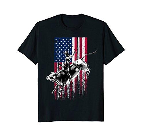 Bull Womens T-shirt - Rodeo Bull Rider Patriotic American Flag T-Shirt for Cowboys