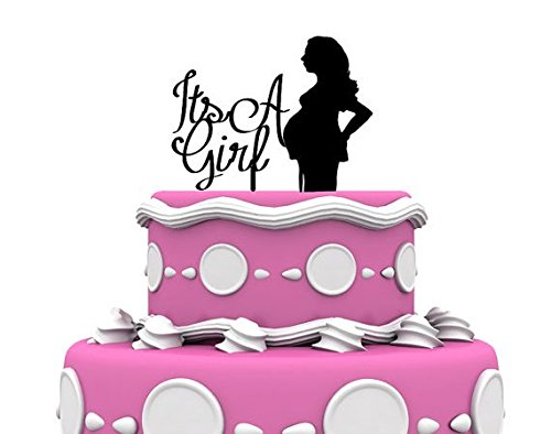 Glittery Silver Its a Girl Pregnant Mom to Be Cake Topper Expecting Mom By Forbes Favors