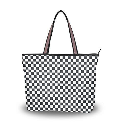 My Daily Women Tote Shoulder Bag Black And White Plaid Gingham Checkered Handbag Medium ()