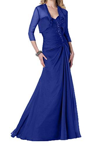 Langarm mit Festlichkleider Brautmutterkleider Festlich jaket Etuikleider Charmant Abendkleider Royal Damen Blau xwnXp78TqY