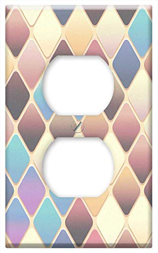 (Switch Plate Outlet Cover - Abstract Colorful Background Tile Diamond Shape 2 )