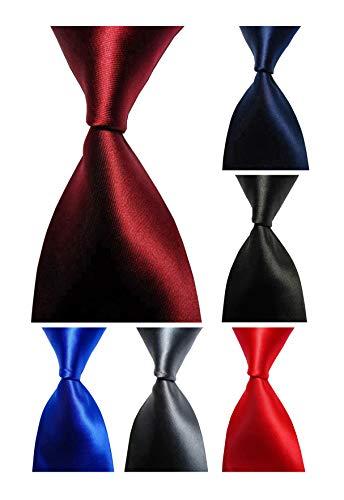 100% Silk Tie - Wehug Lot 6 PCS Men's Ties 100% Silk Tie Woven Necktie Jacquard Neck Ties Solid Ties style013