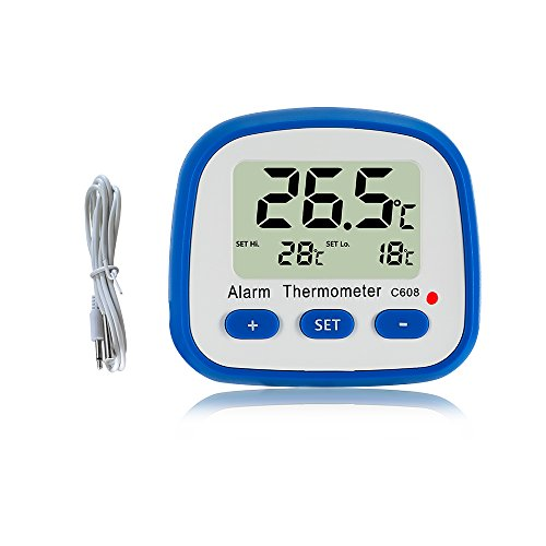 Digital Fridge Freezer Thermometer with Magnet and Stander Easy Readout Refrigerator Thermometer with LED Indicator Hi Lo Temperature Alarm Freezer Room Thermometer with Larger LCD Display - Feed Led Direct Magnetic